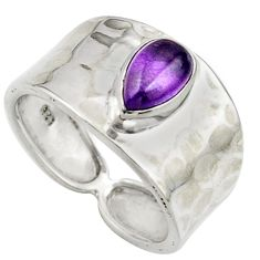 1.54cts natural purple amethyst 925 sterling silver ring jewelry size 7 r44310