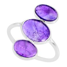 6.53cts natural purple amethyst 925 sterling silver ring jewelry size 7 r88103