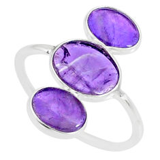 6.37cts natural purple amethyst 925 sterling silver ring jewelry size 8 r88150