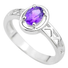 1.47cts natural purple amethyst 925 sterling silver ring jewelry size 8 t8018