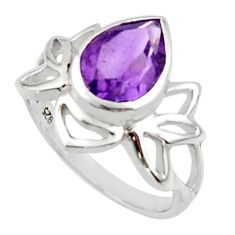 3.11cts natural purple amethyst 925 sterling silver ring jewelry size 9 r45702