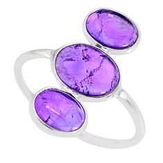6.62cts natural purple amethyst 925 sterling silver ring jewelry size 9 r88148