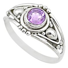 0.81cts natural cut amethyst 925 silver graduation handmade ring size 9 t9723