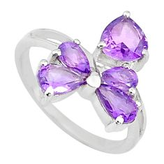 3.42cts natural purple amethyst 925 sterling silver ring jewelry size 6.5 t10575