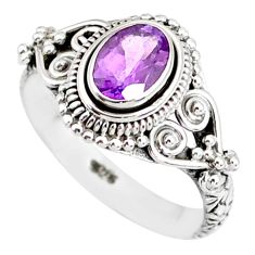 1.50cts natural purple amethyst 925 sterling silver solitaire ring size 7 r85561
