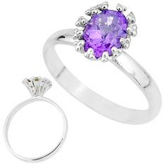 2.23cts natural purple amethyst 925 sterling silver solitaire ring size 7 t12579