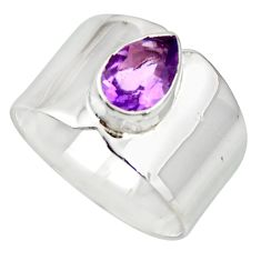 2.22cts natural purple amethyst 925 sterling silver solitaire ring size 8 r26823