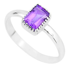1.41cts natural purple amethyst 925 sterling silver solitaire ring size 8 t7432
