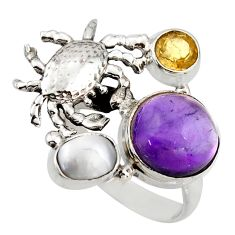 7.36cts natural purple amethyst citrine 925 silver crab ring size 6.5 d46001
