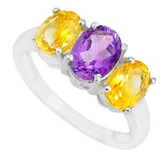 5.45cts natural purple amethyst citrine 925 sterling silver ring size 8.5 r84061