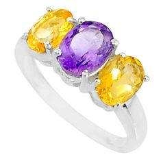 5.17cts natural purple amethyst citrine 925 sterling silver ring size 6 r84090
