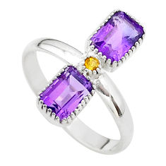 3.59cts natural purple amethyst citrine 925 sterling silver ring size 8 t37877