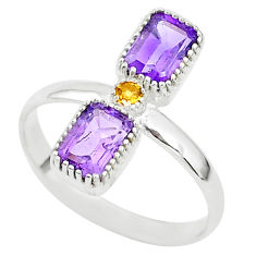 3.17cts natural purple amethyst citrine 925 sterling silver ring size 8 t5595