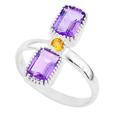 2.96cts natural purple amethyst citrine 925 sterling silver ring size 7.5 t5600