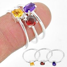 2.82cts natural purple amethyst citrine garnet 925 silver 3 rings size 7 t17726