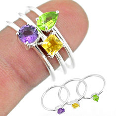 2.97cts natural purple amethyst citrine peridot 925 silver 3 rings size 8 t51014