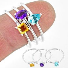 2.81cts natural purple amethyst citrine topaz 925 silver 3 rings size 8 t17666