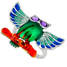 Natural purple amethyst enamel 925 silver owl ring jewelry size 9 c16860