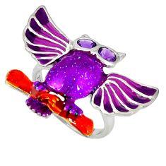 Natural purple amethyst enamel 925 sterling silver owl ring size 7 c16806
