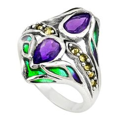 Natural purple amethyst enamel 925 sterling silver ring size 7.5 c22004