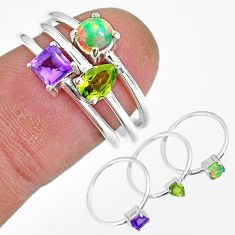 3.41cts natural purple amethyst ethiopian opal silver 3 rings size 6.5 r92460