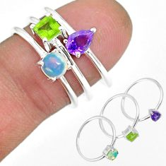 2.81cts natural purple amethyst ethiopian opal silver 3 rings size 6.5 r92480