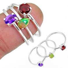 3.13cts natural purple amethyst ethiopian opal silver 3 rings size 6.5 r92498
