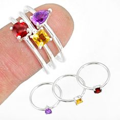 2.97cts natural purple amethyst garnet 925 silver stackable ring size 8 r79884
