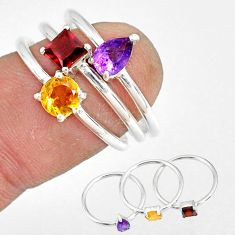 3.13cts natural purple amethyst garnet 925 silver stackable ring size 8 r79886