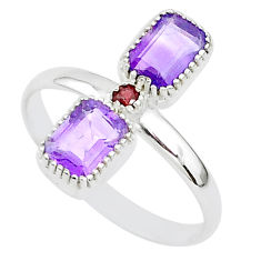 3.00cts natural purple amethyst garnet 925 sterling silver ring size 10 t5598
