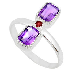 3.59cts natural purple amethyst garnet 925 sterling silver ring size 8 r77246