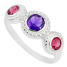 2.56cts natural purple amethyst garnet 925 sterling silver ring size 8 r83923
