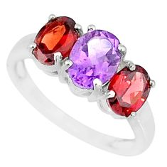 5.17cts natural purple amethyst garnet 925 sterling silver ring size 8 r84097