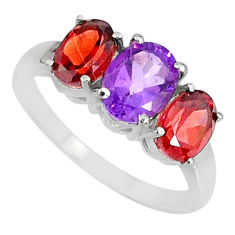 5.17cts natural purple amethyst garnet 925 sterling silver ring size 9 r84079
