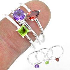 2.98cts natural purple amethyst garnet peridot 925 silver 3 rings size 8 t51002