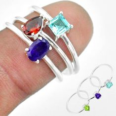 2.72cts natural purple amethyst garnet topaz 925 silver 3 rings size 7 t51162