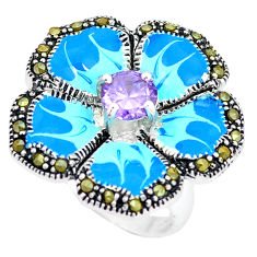 Natural purple amethyst marcasite 925 silver flower ring size 6.5 c18294