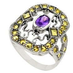 Natural purple amethyst marcasite 925 sterling silver ring size 6 c22321