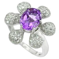 Natural purple amethyst oval topaz 925 sterling silver ring size 6 c17933
