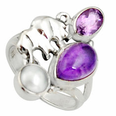 6.08cts natural purple amethyst pearl 925 silver elephant ring size 7.5 r22646