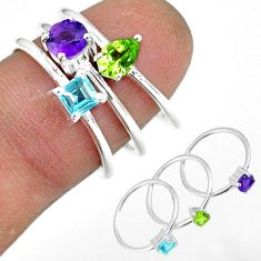 3.41cts natural purple amethyst peridot 925 silver 3 rings size 6.5 r92447
