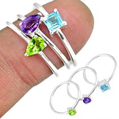 3.14cts natural purple amethyst peridot 925 silver 3 rings size 6.5 r92470