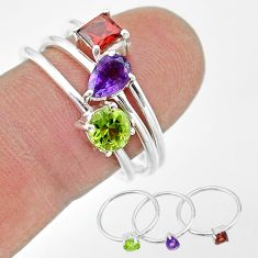 2.58cts natural purple amethyst peridot 925 sterling silver 3 ring size 8 t17642