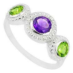 2.72cts natural purple amethyst peridot 925 sterling silver ring size 8.5 r83922