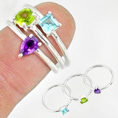 2.81cts natural purple amethyst peridot 925 sterling silver ring size 6 r79906