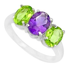 4.87cts natural purple amethyst peridot 925 sterling silver ring size 8 r84073