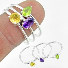 3.14cts natural purple amethyst peridot citrine 925 silver 3 rings size 9 t51472