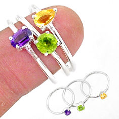3.14cts natural purple amethyst peridot citrine silver 3 rings size 7.5 t4596