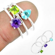 2.98cts natural purple amethyst peridot topaz 925 silver 3 rings size 7 t51171