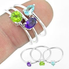 2.81cts natural purple amethyst peridot topaz 925 silver 3 rings size 8 t51037